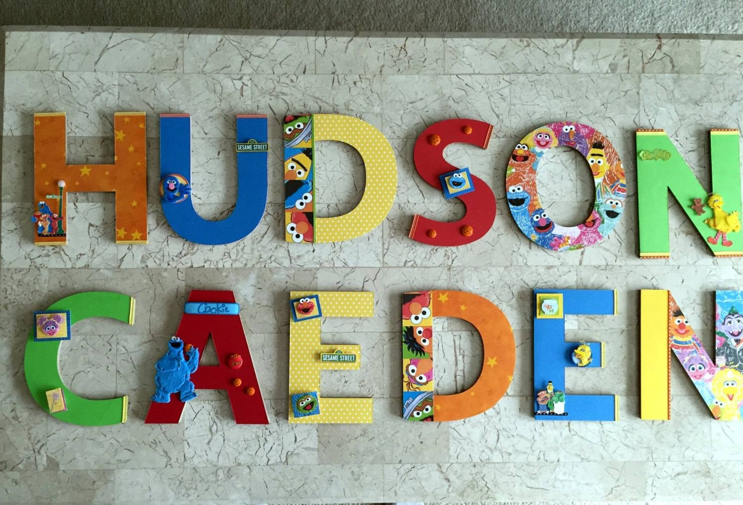 Sesame Street Wall Letters Twins Room Decor Sesame Street With Latest Playroom Wall Art (View 13 of 30)
