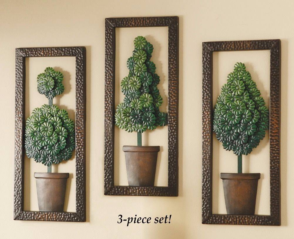 Set 3 Topiary Wall Art Panel Sculpture Metal Home Decor 6 3/4l X In Most Recent Topiary Wall Art (View 8 of 30)
