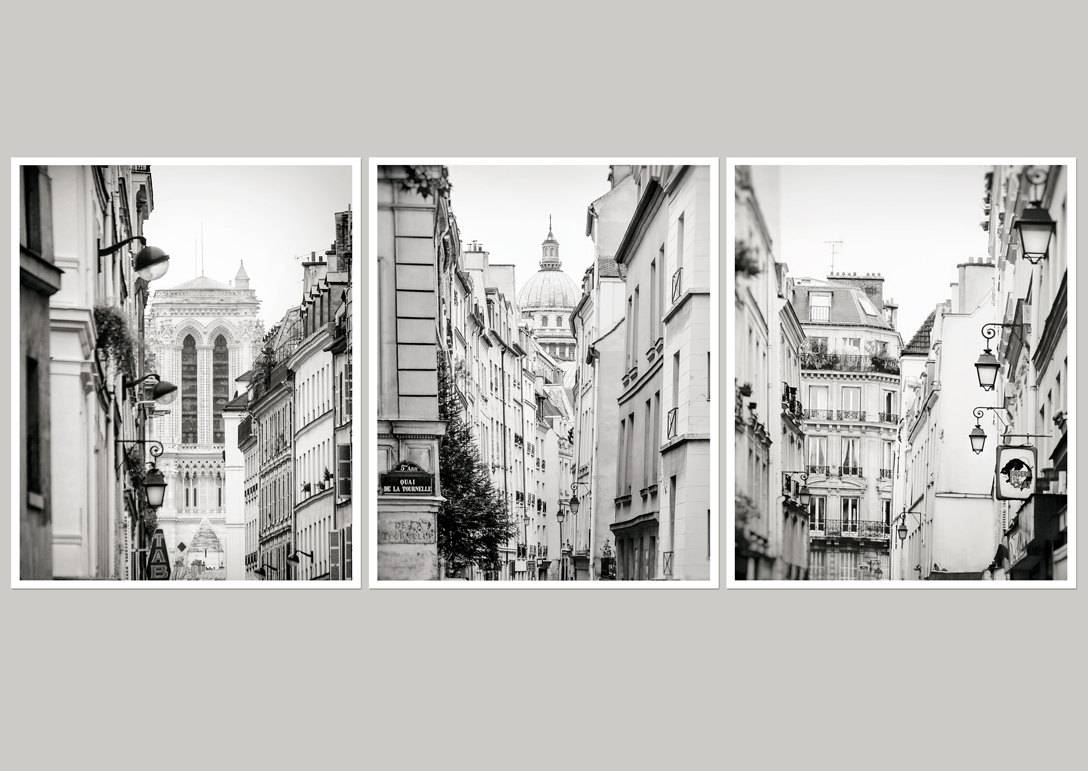 Set 3 Wall Art Paris Large Wall Art Set Of 3 Gallery Prints Pertaining To Most Popular Black And White Paris Wall Art (View 24 of 25)
