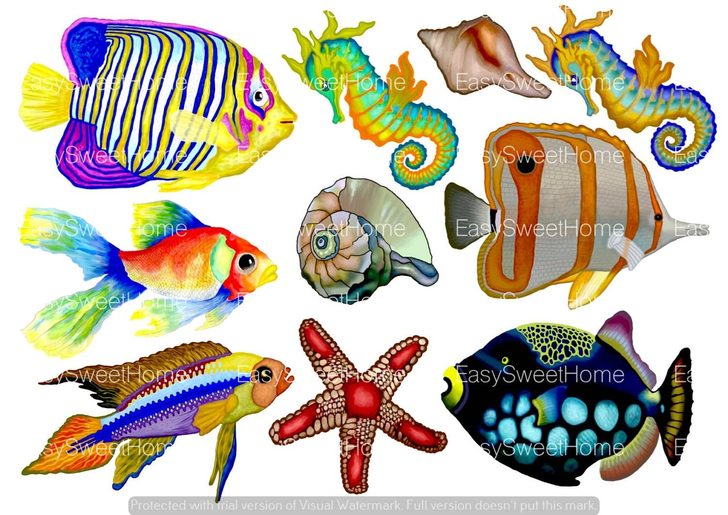 Set Of 10 Tropical Fish Decals Undersea Bathroom In Most Cur For