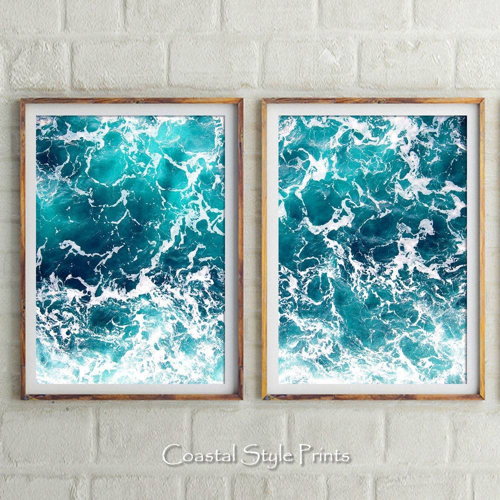 Set Of 2 Ocean Prints Coastal Wall Decor Ocean Turquoise Intended For Most Popular Coastal Wall Art (Gallery 7 of 12)