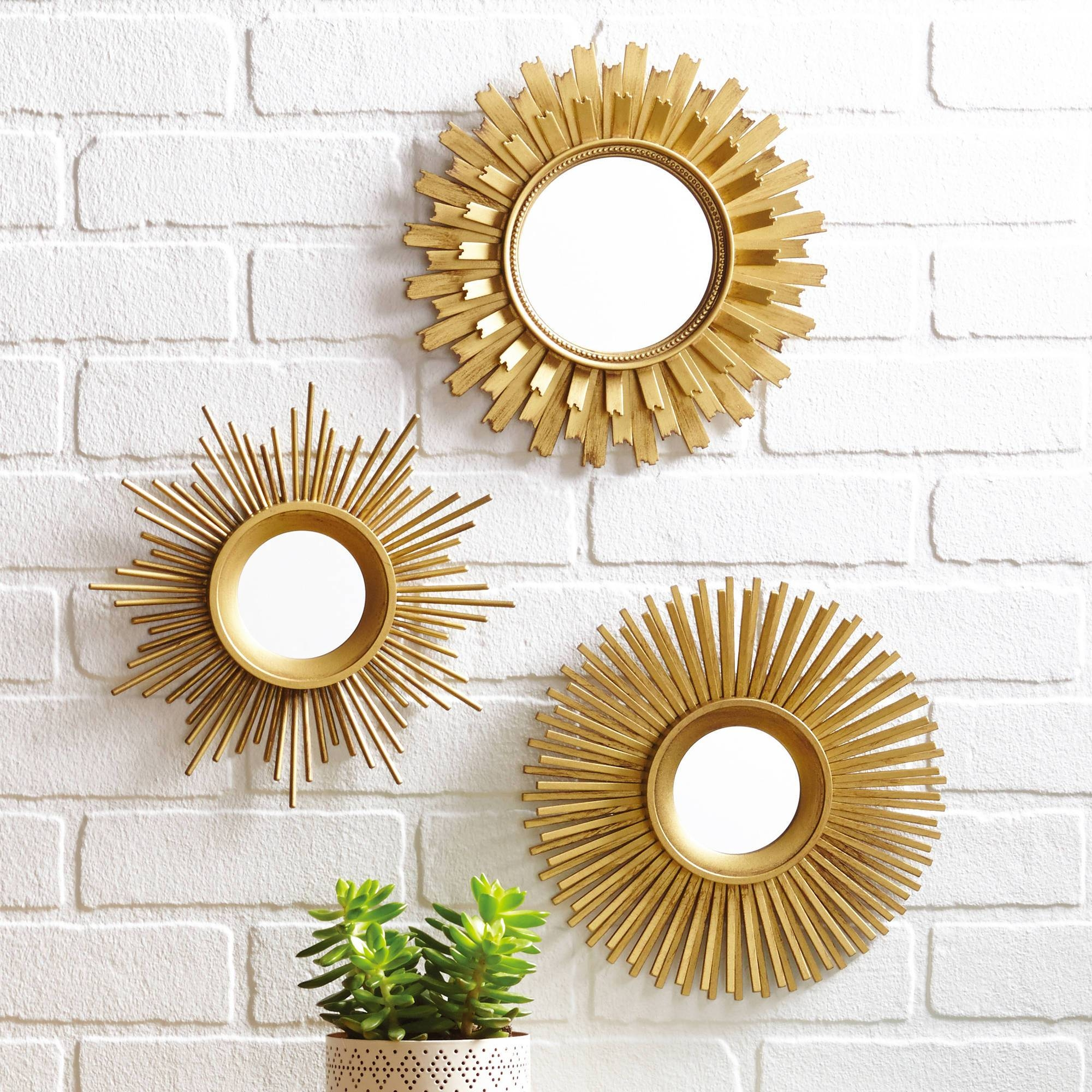 Set Of 3 Wall Mirrors | Mirror Collection Items In 2018 Small Round Mirrors Wall Art (View 7 of 20)