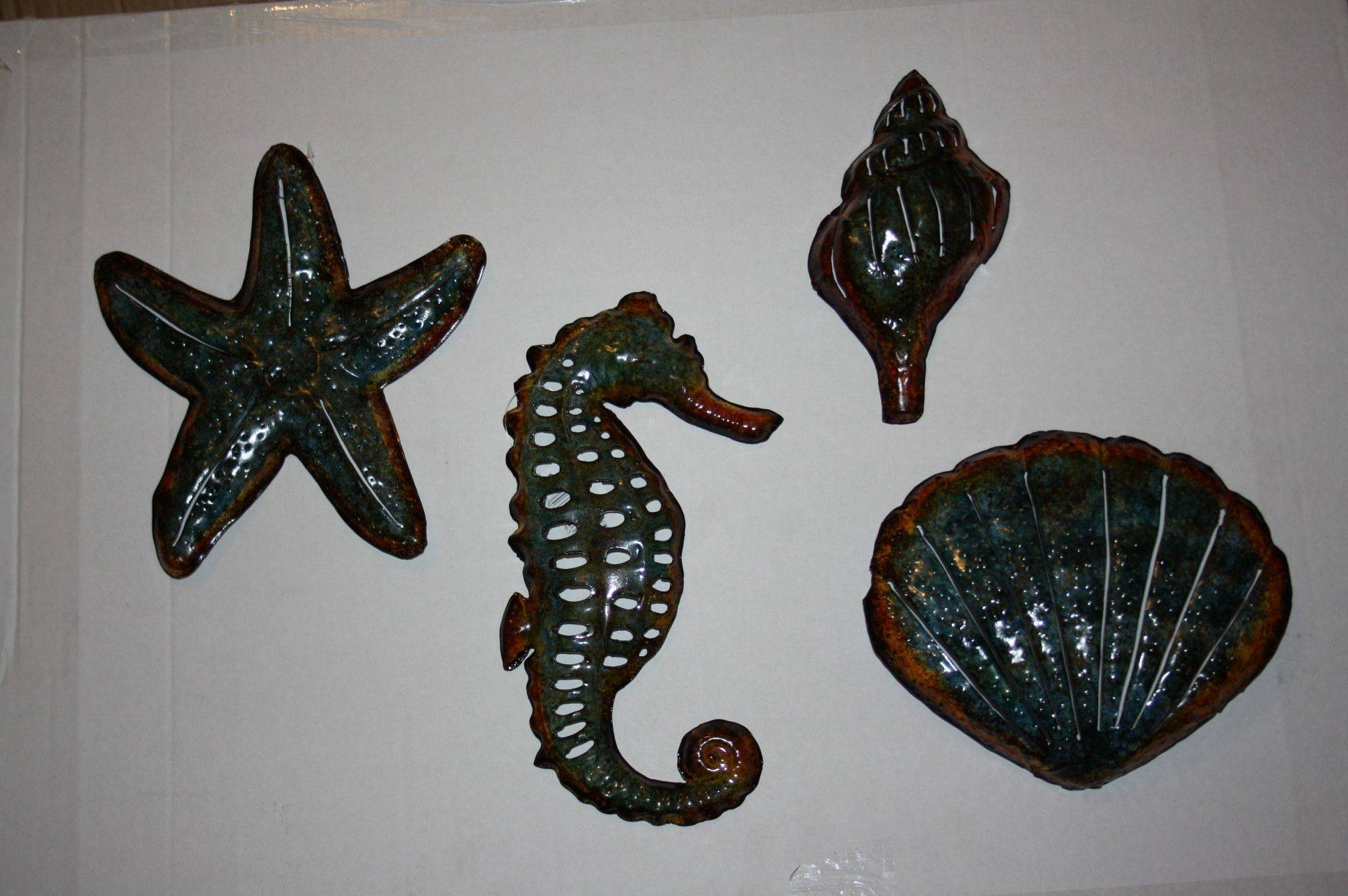 Set Of 4 Bathroom Seaside Metal Wall Art Now Only  (View 14 of 15)