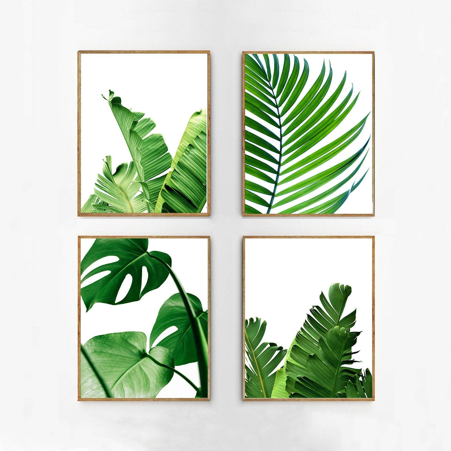Set Of 4 Tropical Leaves Leaf Prints Set Green Wall Art With Regard To Best And Newest Palm Leaf Wall Art (View 18 of 20)
