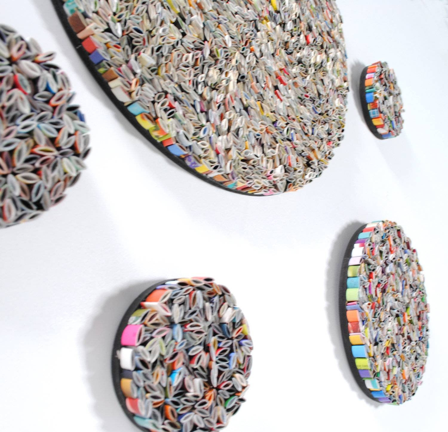 Set Of 5 Round Wall Art Made From Recycled Magazines, Colorful Inside Most Current Recycled Wall Art (Gallery 5 of 30)