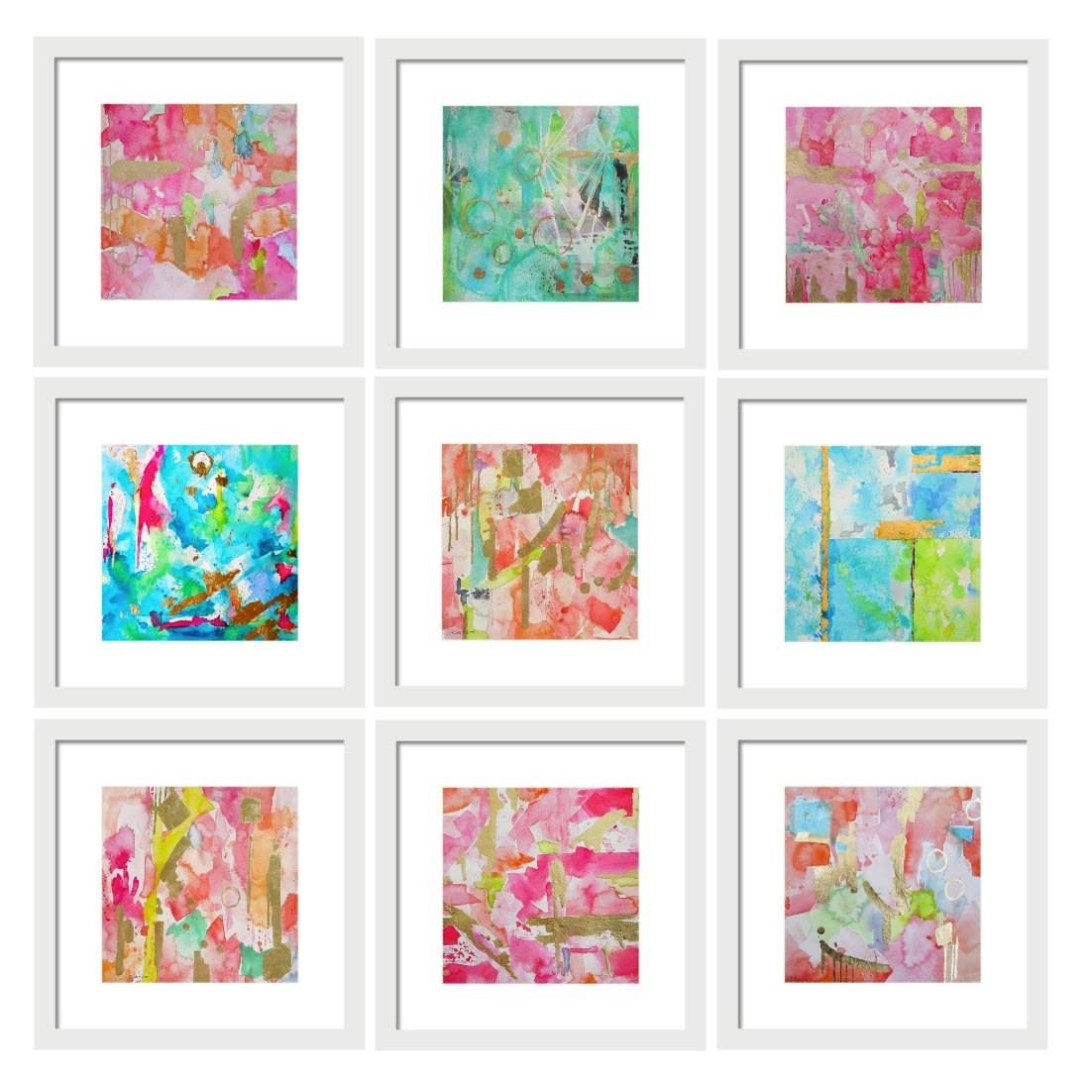 Set Of 9 Abstract Watercolor Prints Gallery Wall Art Set Art In Newest Wall Art Print Sets (View 4 of 20)