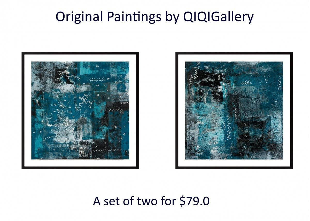 "Set Of Two 24"" X 12""qiqigallery Turquoise Black White Silver For Latest Turquoise And Black Wall Art (View 9 of 20)"