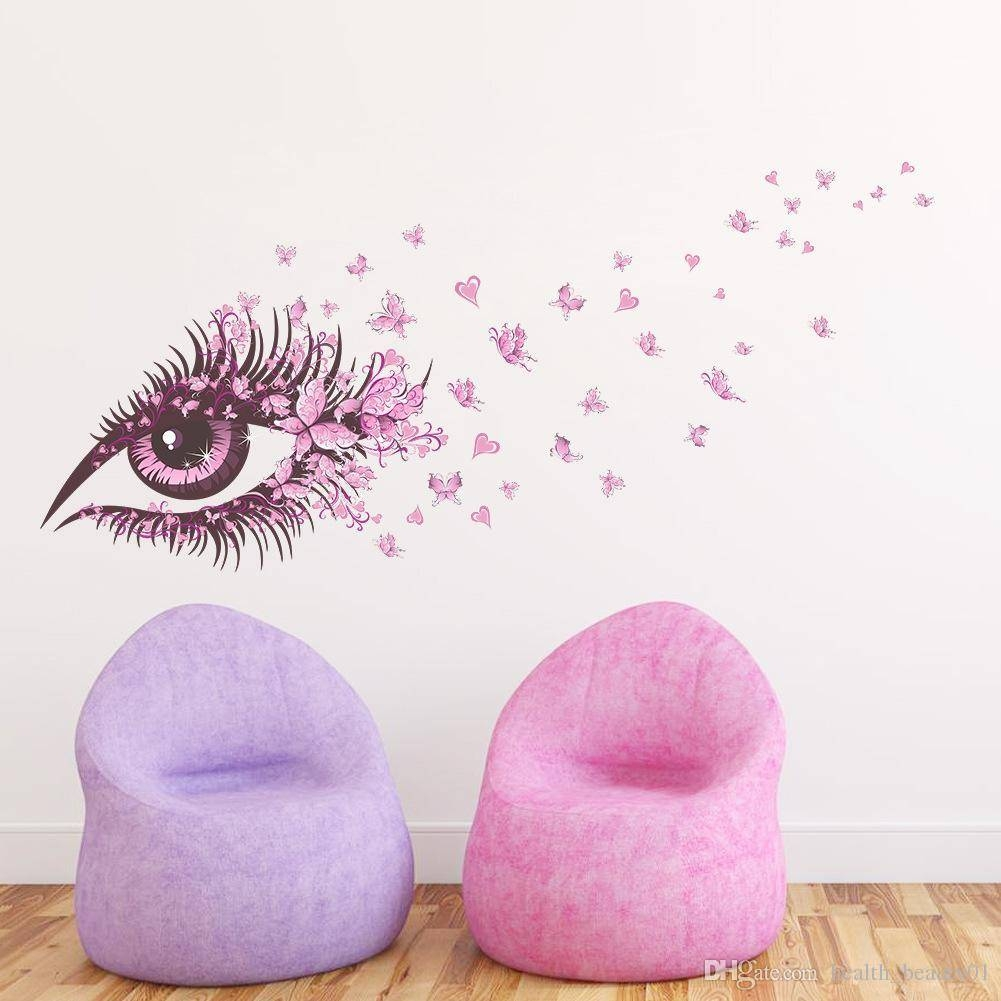Sexy Fairy Flower Girl Eye Butterfly Love Heart 3d Vinyl Wall Intended For Recent Wall Art For Girls (View 15 of 20)