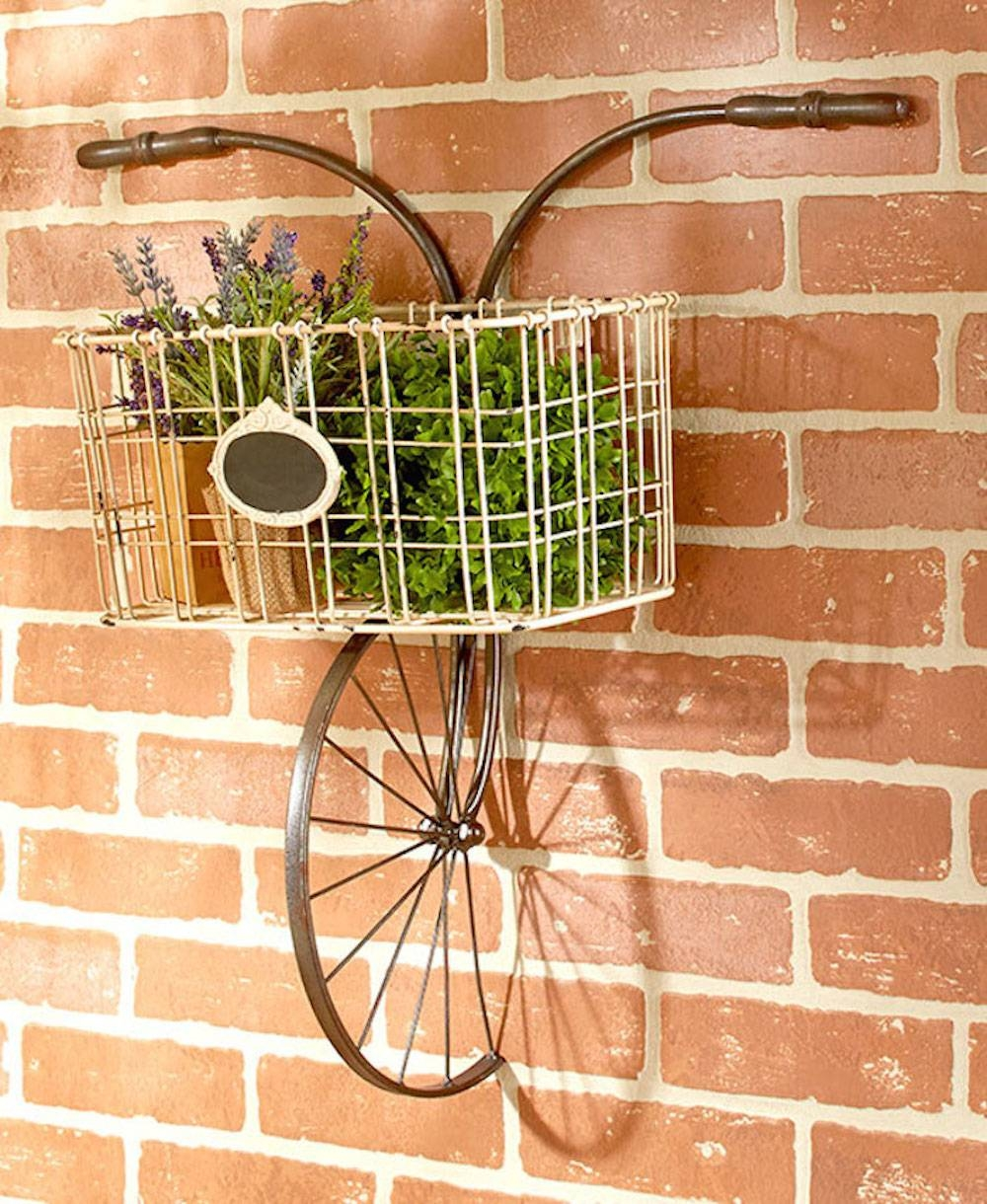 Shabby Vintage Chic Wall Decor Bicycle Rack Plaque Metal Wall Art Pertaining To Most Recently Released Shabby Chic Wall Art (View 24 of 30)