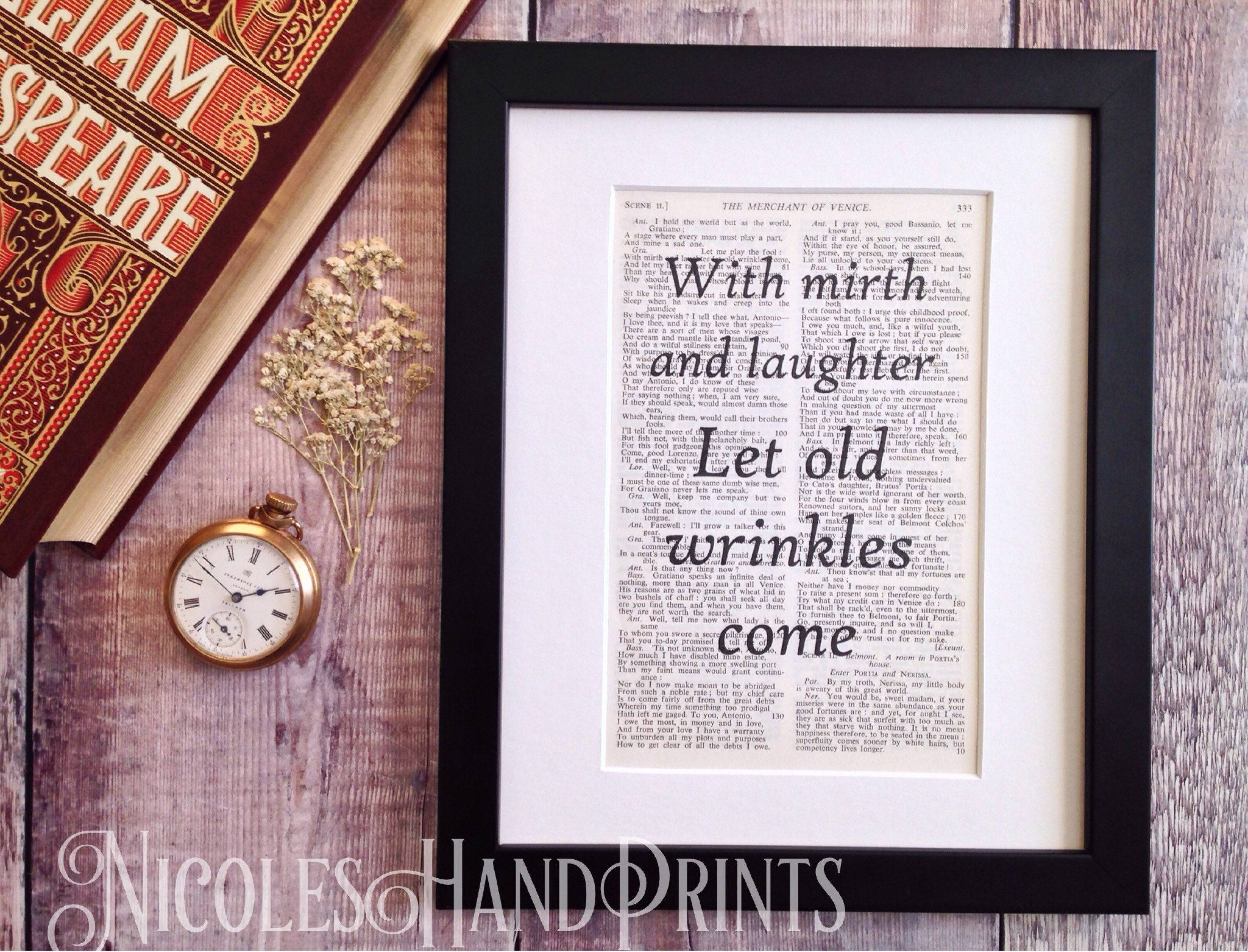 Shakespeare Quote Print, Cheerful Wall Art, The Merchant Of Venice Pertaining To 2017 Shakespeare Wall Art (View 4 of 20)