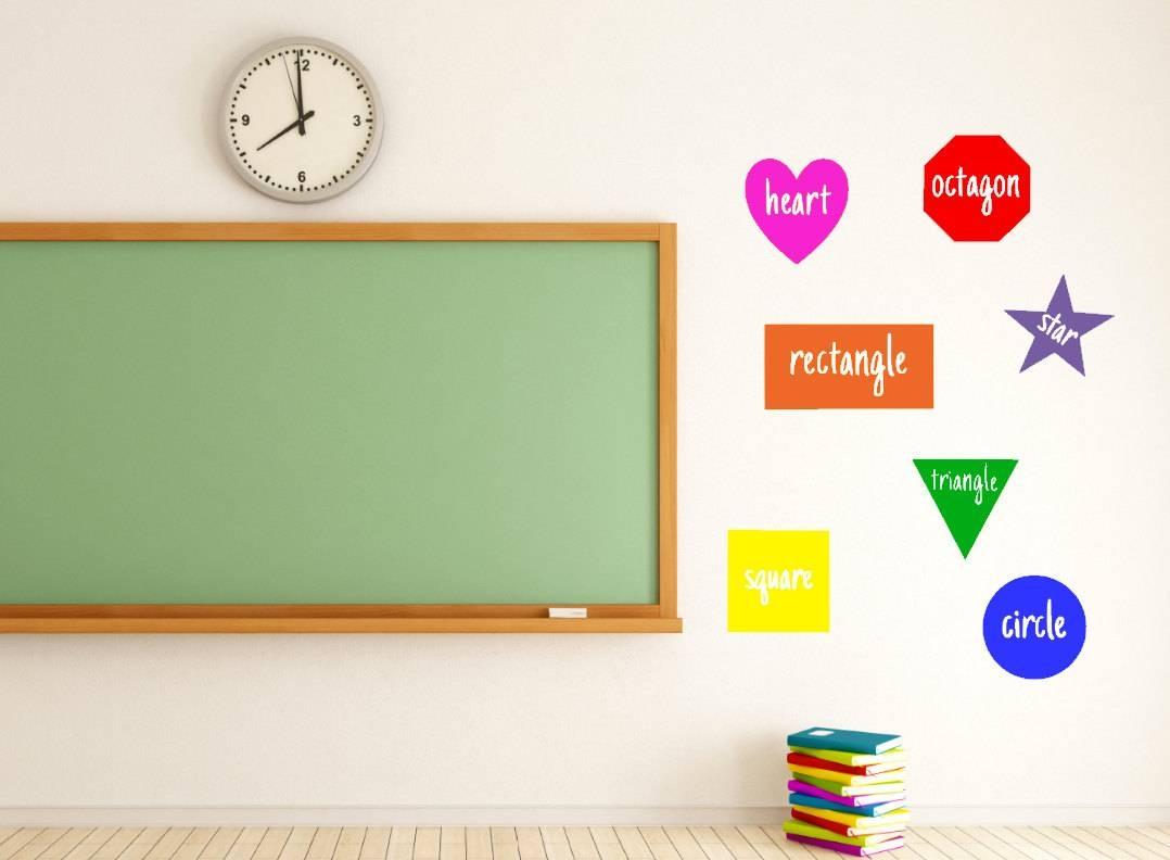 Shapes Teacher Vinyl Decal Classroom Classroom Decor Intended For Latest Classroom Vinyl Wall Art (View 2 of 30)