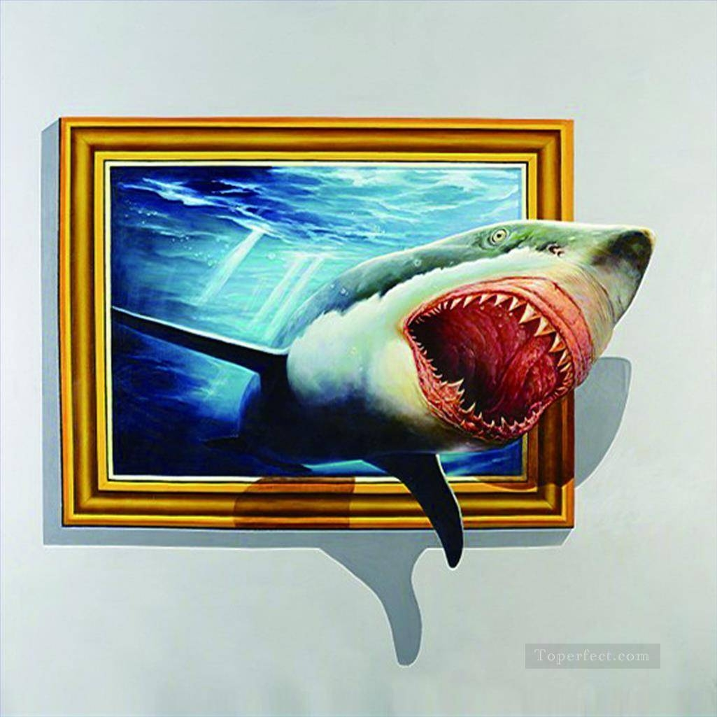 Shark Out Of Frame 3d Painting In Oil For Sale Intended For Newest 3d Artwork On Wall (View 13 of 20)