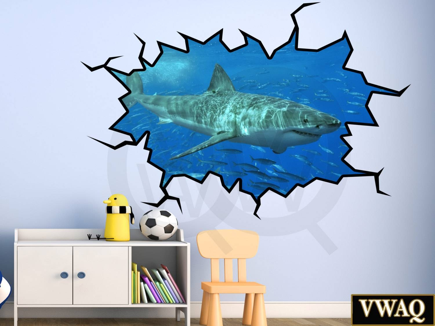 Shark Wall Decal 3d Wall Art Peel And Stick Great White Shark Pertaining To Current Fish 3d Wall Art (View 10 of 20)