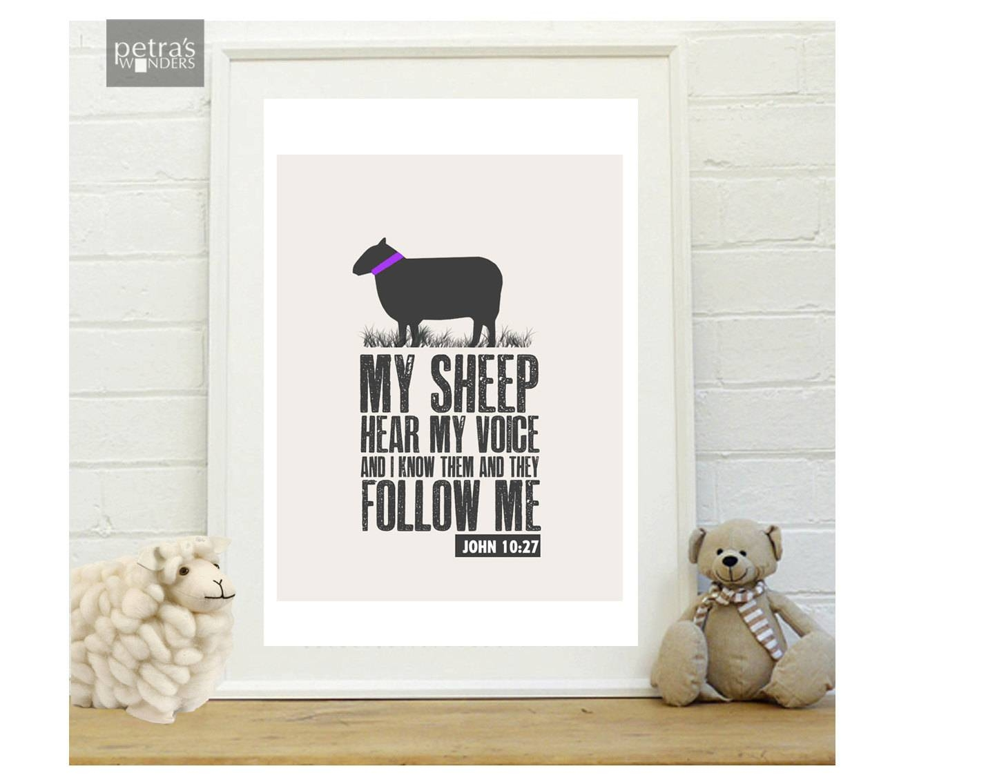 Sheep Wall Art Bible Verse Print Scripture Art Print In A For Latest Bible Verses Framed Art (View 2 of 25)