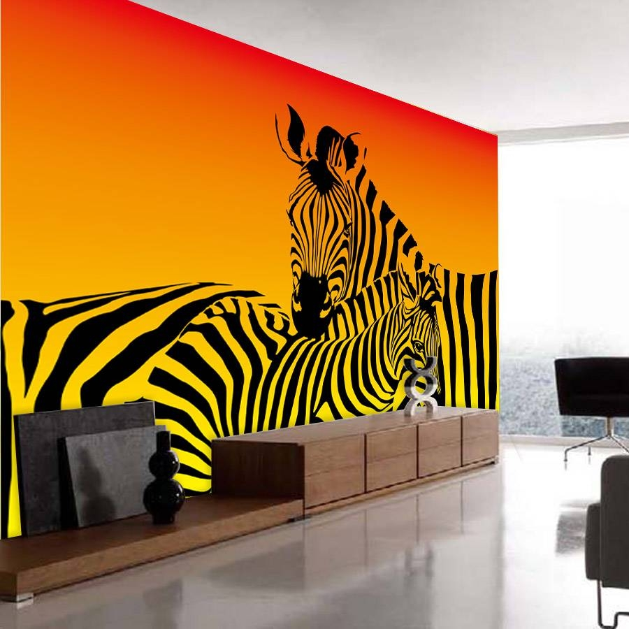 Shinehome Abstract Zebra Strip Animal Wallpaper For Bedroom Murals Regarding Most Recently Released Zebra 3d Wall Art (View 13 of 20)