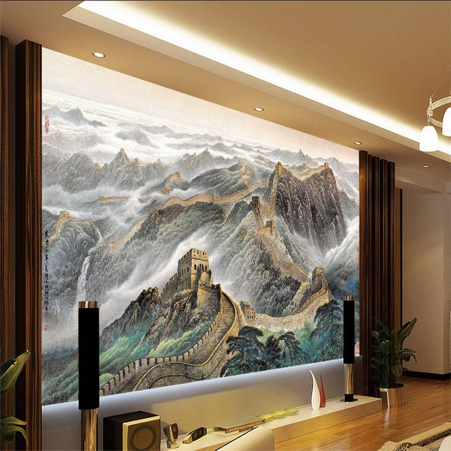 Shinehome Chinese Great Wall Oil Painting Style Room 3 D Wallpaper Intended For 2017 Great Wall Of China 3D Wall Art (View 14 of 20)
