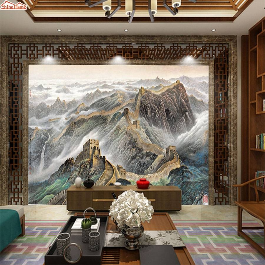 Shinehome Chinese Great Wall Oil Painting Style Room 3 D Wallpaper With Regard To Recent Great Wall Of China 3D Wall Art (View 15 of 20)