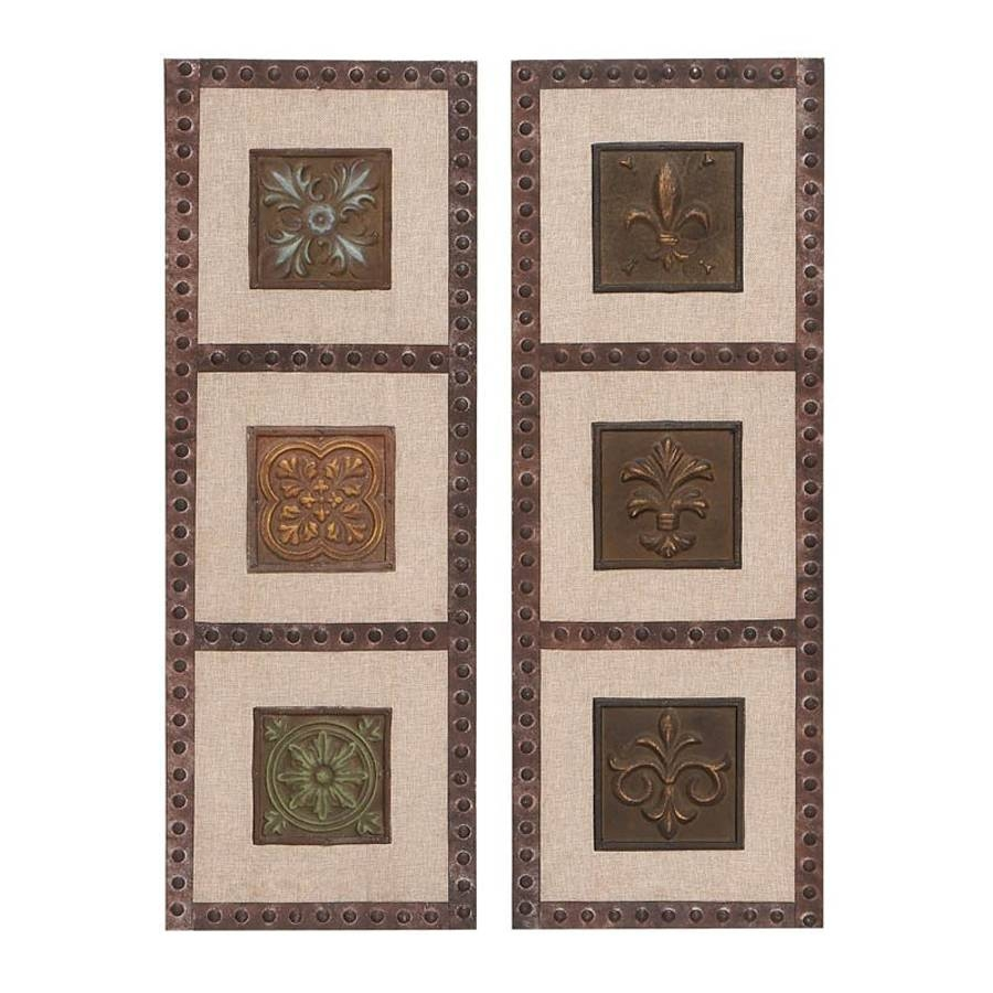 Shop Woodland Imports 2 Piece 12 In W X 33 In H Framed Metal For Current Vintage 3D Wall Art (View 13 of 20)