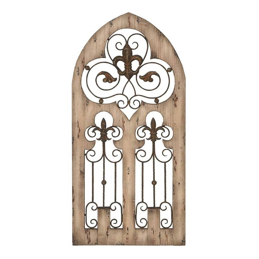 Shop Woodland Imports 24 In W X 50 In H Frameless Wood Fleur De For Most Up To Date Metal Fleur De Lis Wall Art (View 24 of 25)