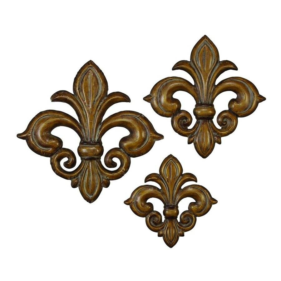 Shop Woodland Imports 3 Piece W X H Frameless Metal Fleur De Lis Pertaining To 2018 Fleur De Lis Metal Wall Art (View 4 of 25)