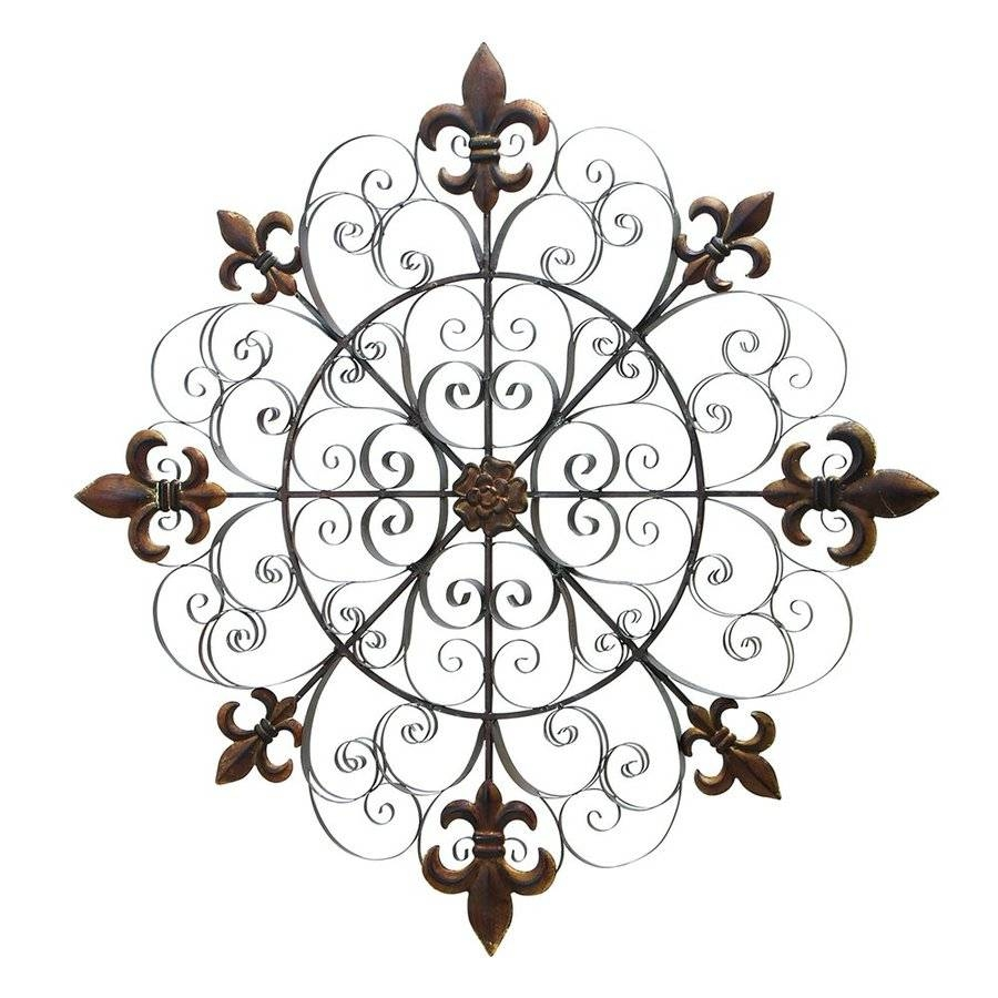Shop Woodland Imports 42 In W X 42 In H Frameless Metal Fleur De In Recent Metal Fleur De Lis Wall Art (View 25 of 25)