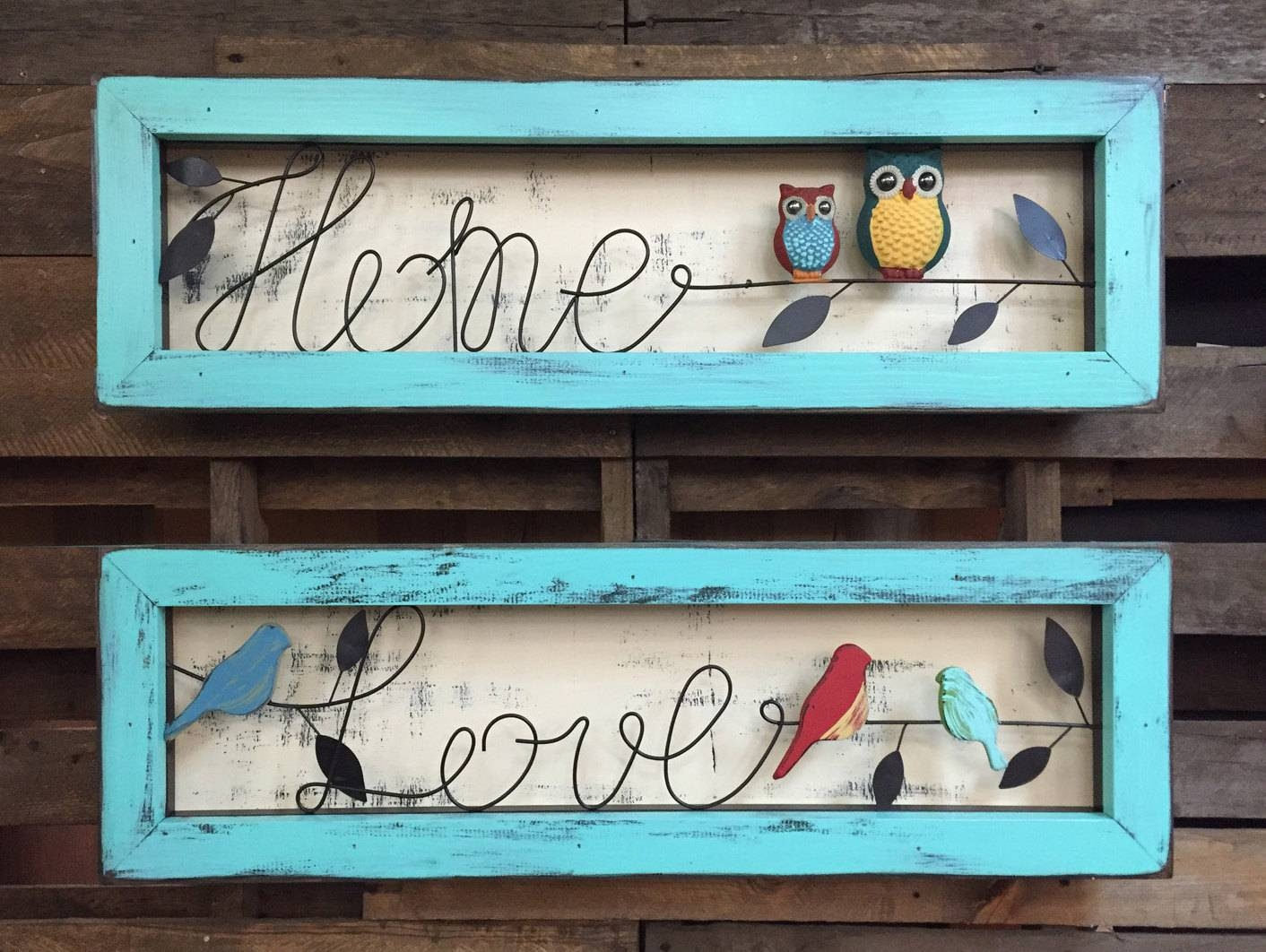 Sign Owl Home Love Birds Reclaimed Framed Wood Shadowbox Intended For 2018 Horizontal Metal Wall Art (View 12 of 20)