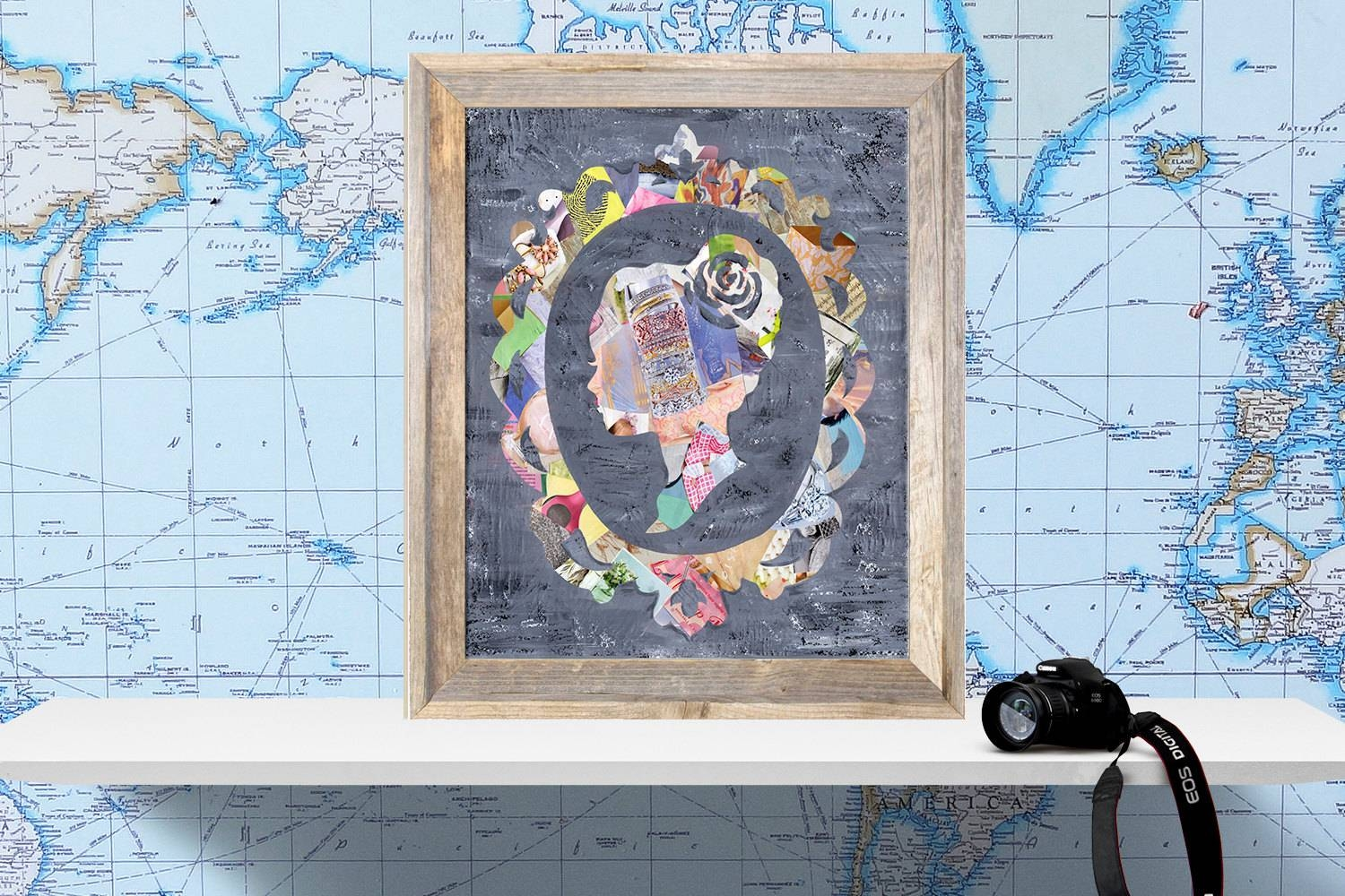 Silhouette Cameo Wall Art Mixed Media Collage Art Wedding In 2017 Cameo Wall Art (View 9 of 20)