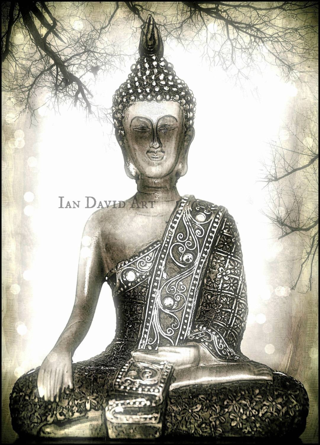 Silver Buddha Photograph Calming Peaceful Zen Buddha Wall In Current Silver Buddha Wall Art (View 9 of 15)