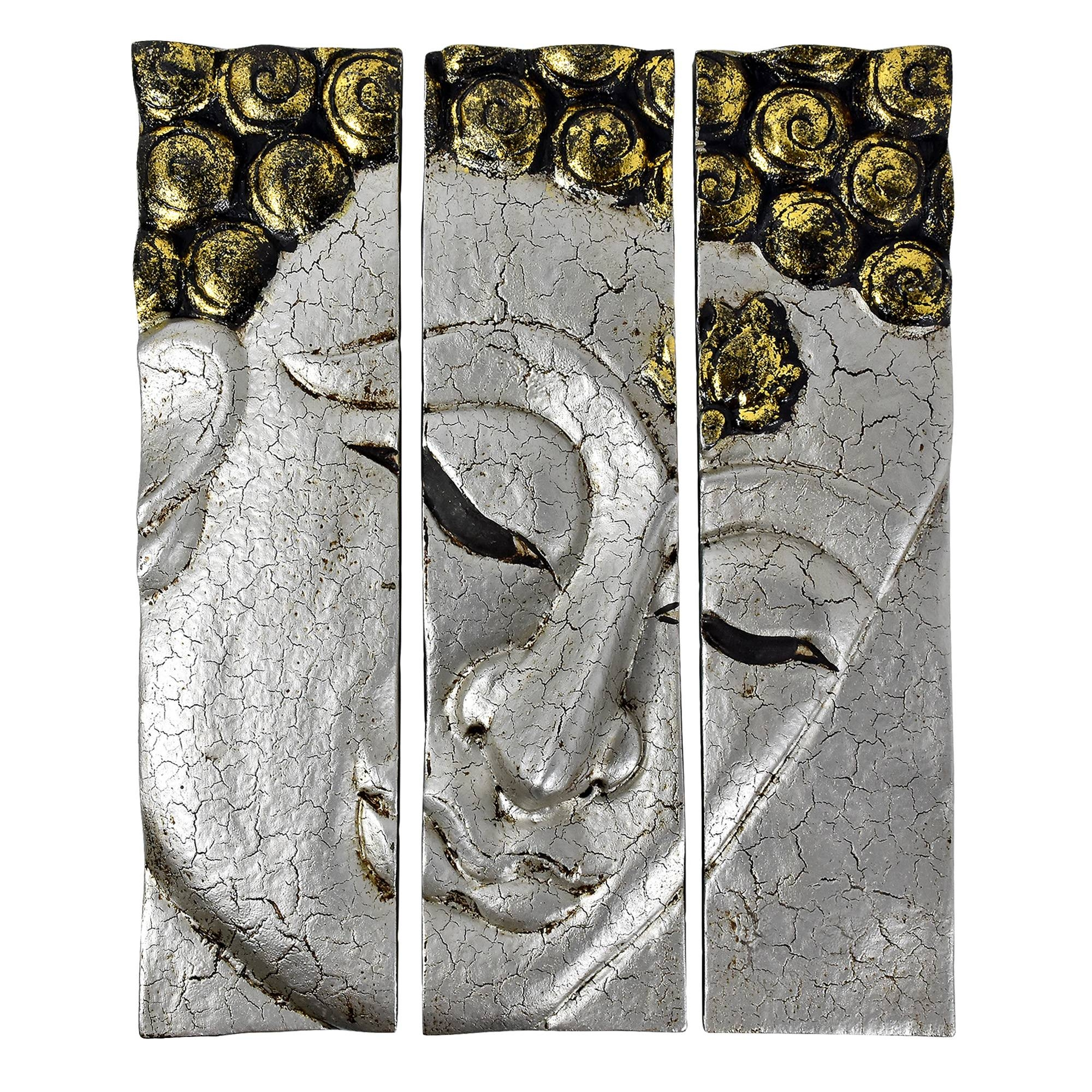 Silver Crackle Buddha Face Three Panel Hanging Handmade Wall Art Throughout 2017 Silver Buddha Wall Art (View 10 of 15)