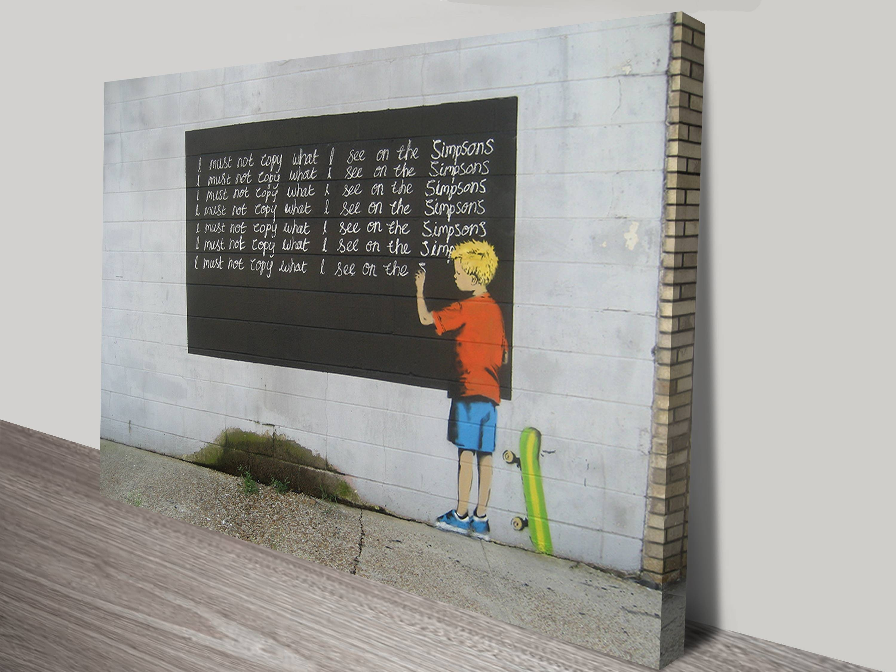 Simpsons Canvas Art Print Sydney Within Latest Banksy Wall Art Canvas (View 6 of 20)