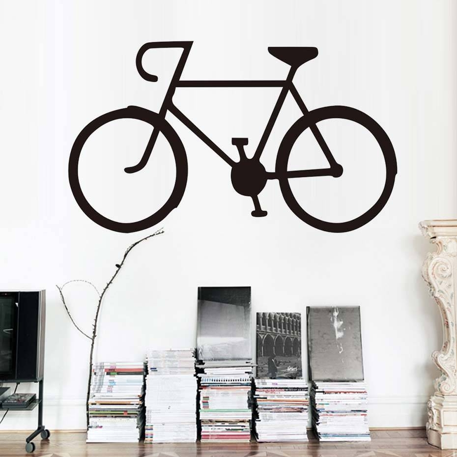 Single Bike Wall Stickers Diy Cycling Vinyl Bike Wall Art Decal Intended For Most Recent Bike Wall Art (View 17 of 20)