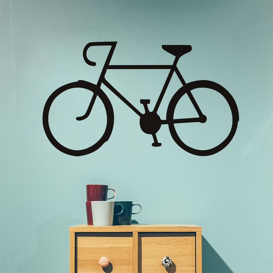 Single Bike Wall Stickers Diy Cycling Vinyl Bike Wall Art Decal Pertaining To Most Current Cycling Wall Art (View 15 of 25)