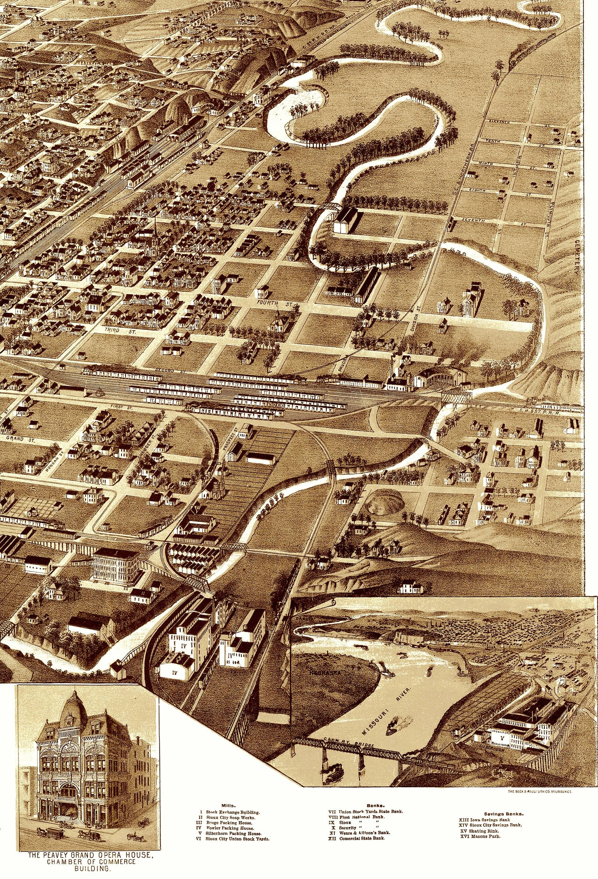 Sioux City, Iowa In 1888 – Bird's Eye View, Aerial Map, Panorama In Best And Newest Antique Map Wall Art (View 17 of 20)