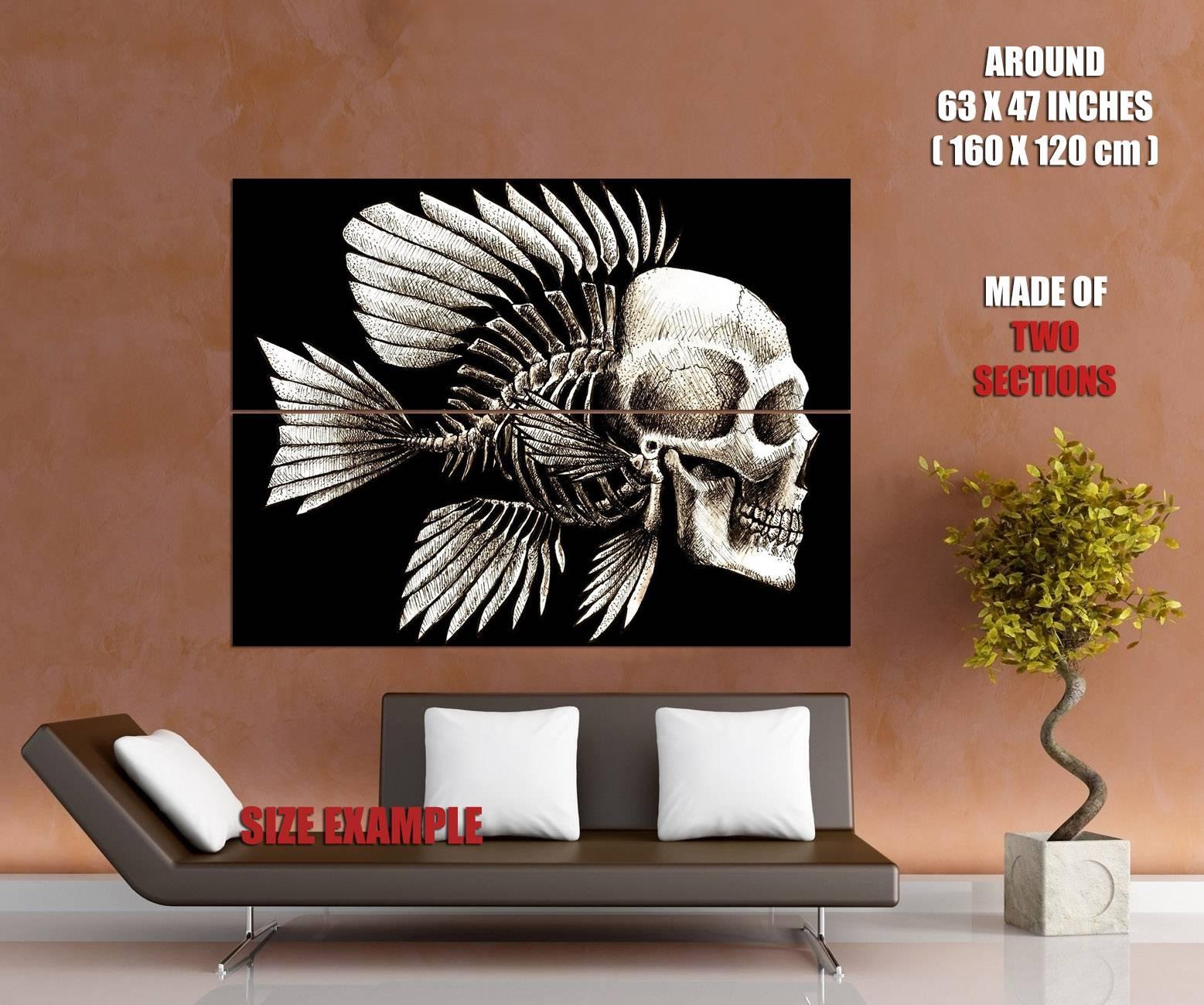 Skull Fish Bone Creative Art Wall Print Poster | Ebay Within 2018 Fish Bone Wall Art (View 19 of 20)