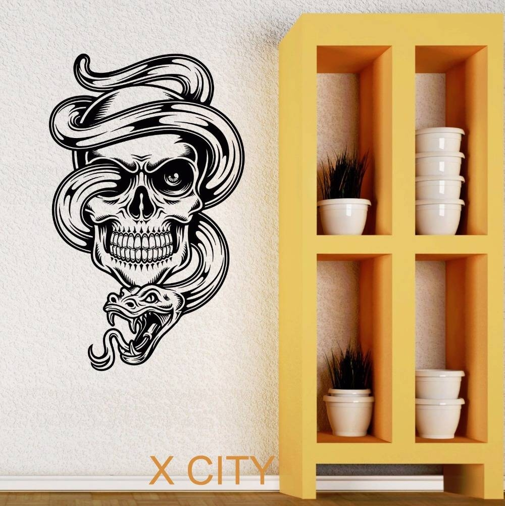 Skull Snake Tattoo Cool Tribal Wall Art Decal Sticker Removable Pertaining To Best And Newest Tattoos Wall Art (View 14 of 20)