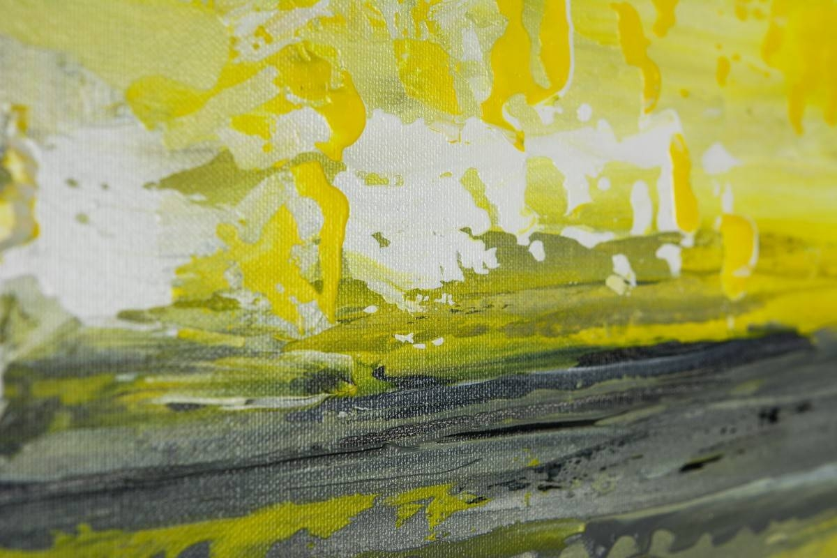"Sky And Seaqiqigallery 36"" X 12"" Abstract Art Yellow Grey Inside Current Yellow And Green Wall Art (View 17 of 20)"