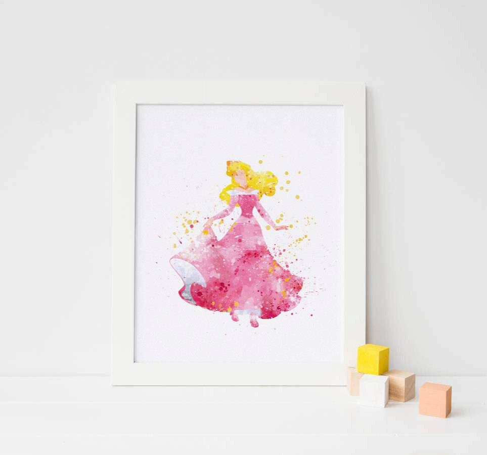 Sleeping Beauty Art Disney Watercolor Sleeping Beauty Print Regarding 2017 Disney Princess Wall Art (View 17 of 20)