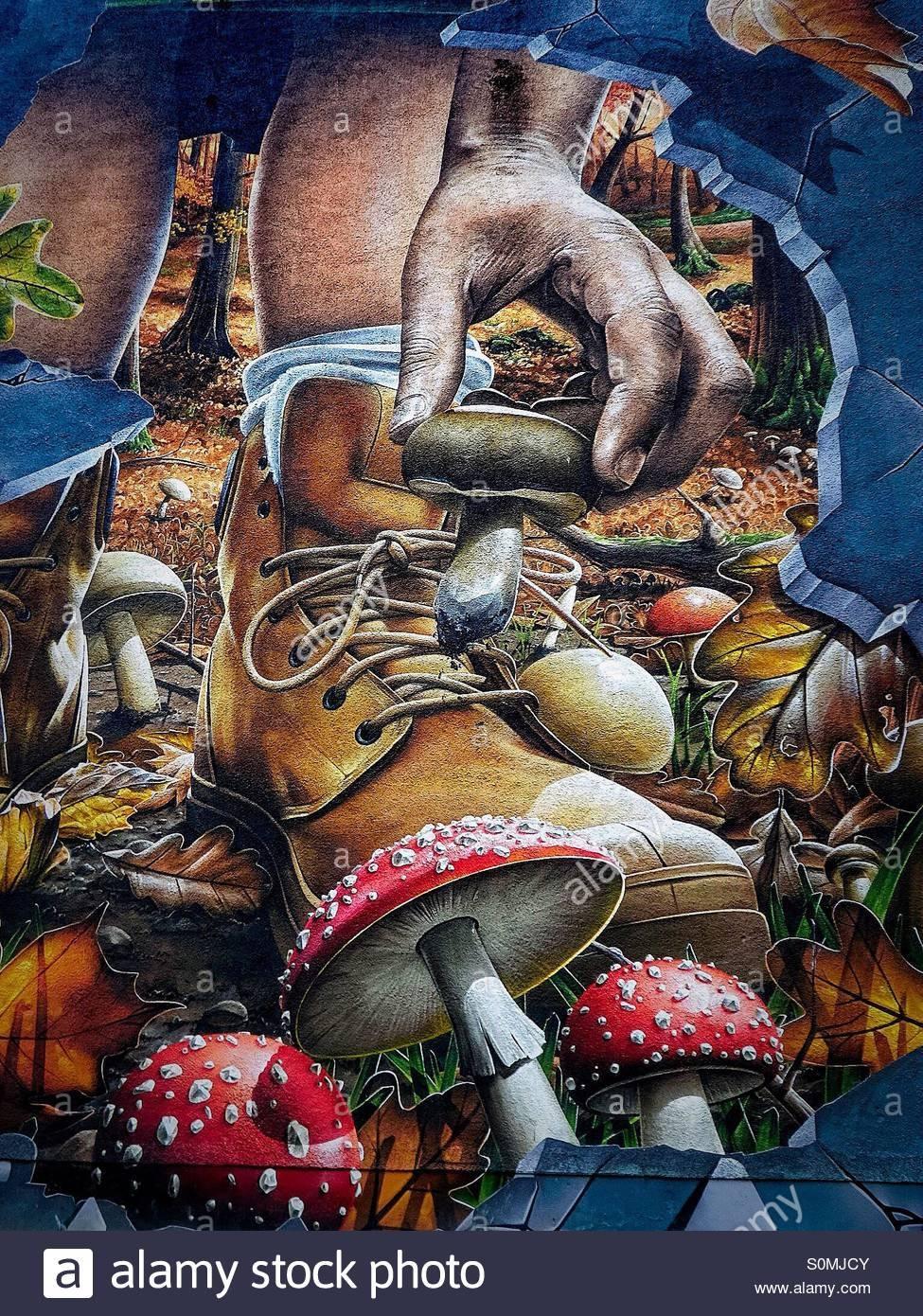 Small Detail From Street Wall Art, Glasgow, Showing Mushroom For Recent Mushroom Wall Art (Gallery 18 of 20)