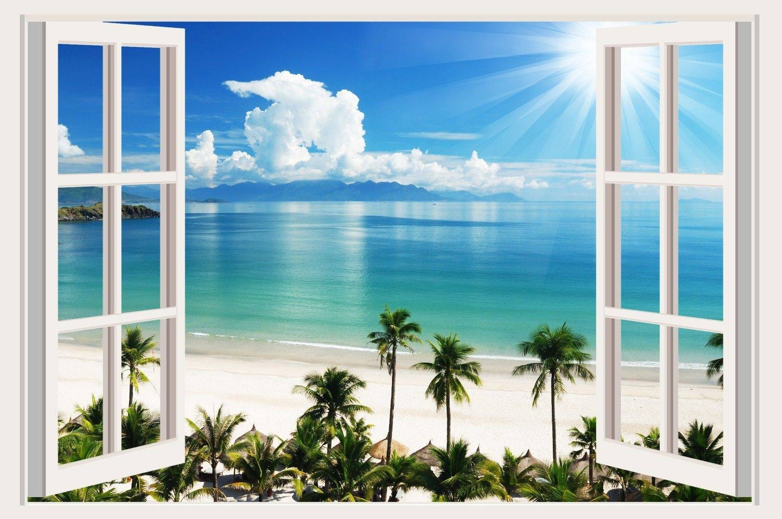Small Wall Stickers Tropical Sea Beach Trees Decals 3d Window Inside Most Recently Released Beach 3d Wall Art (View 2 of 20)