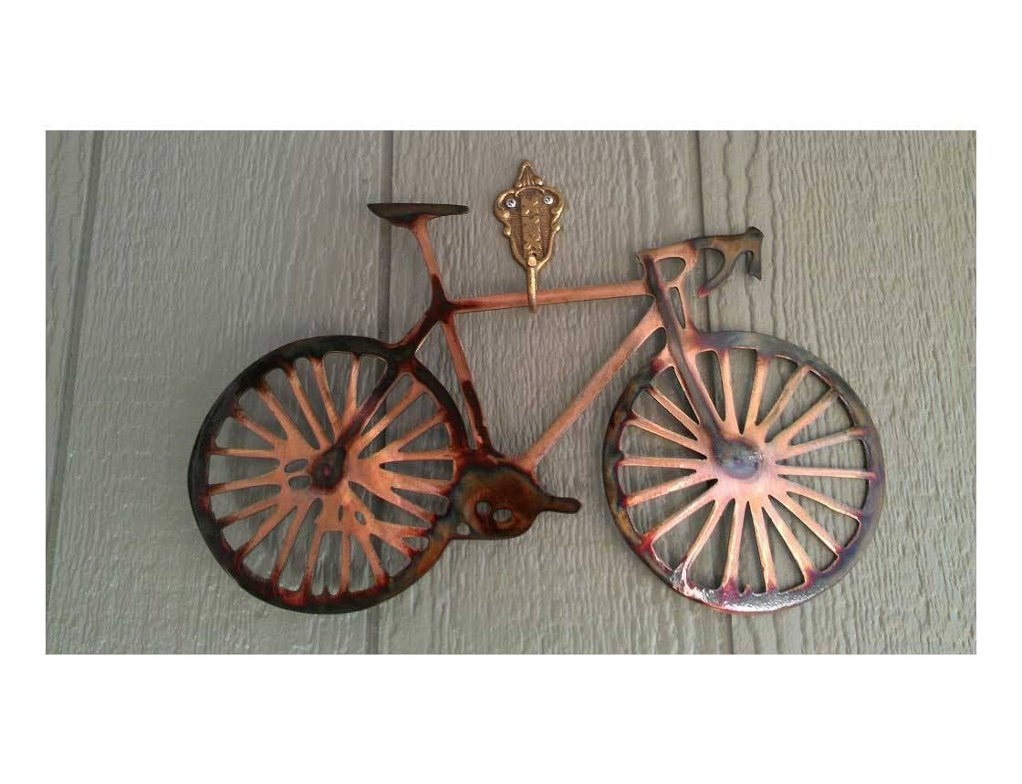 Smw162 Metal Road Bike Wall Art – Sunriver Metal Works With Regard To 2018 Metal Bicycle Art (View 16 of 20)