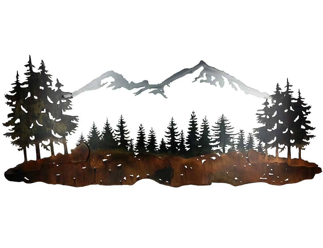 Smw324 Custom Metal Wall Art Sisters Mountain Landscape – Sunriver For Most Up To Date Pine Tree Metal Wall Art (View 22 of 25)