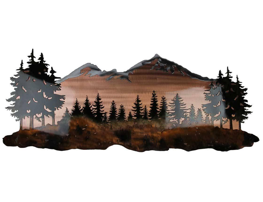 Smw324 Custom Metal Wall Art Sisters Mountain Landscape – Sunriver In Most Current Pine Tree Metal Wall Art (View 18 of 25)