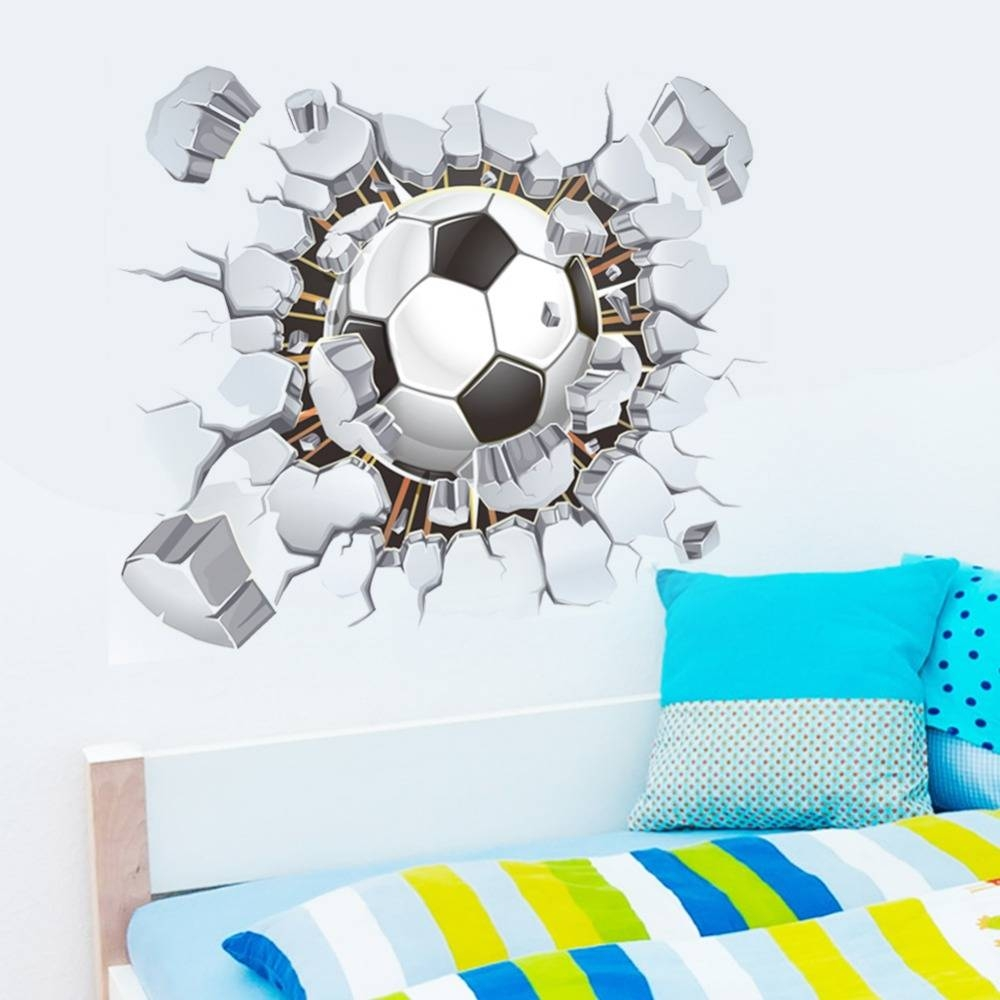 Soccer Football Cracked Full Colour 3D View Wall Art Sticker Decal With Regard To Best And Newest Football 3D Wall Art (View 19 of 20)