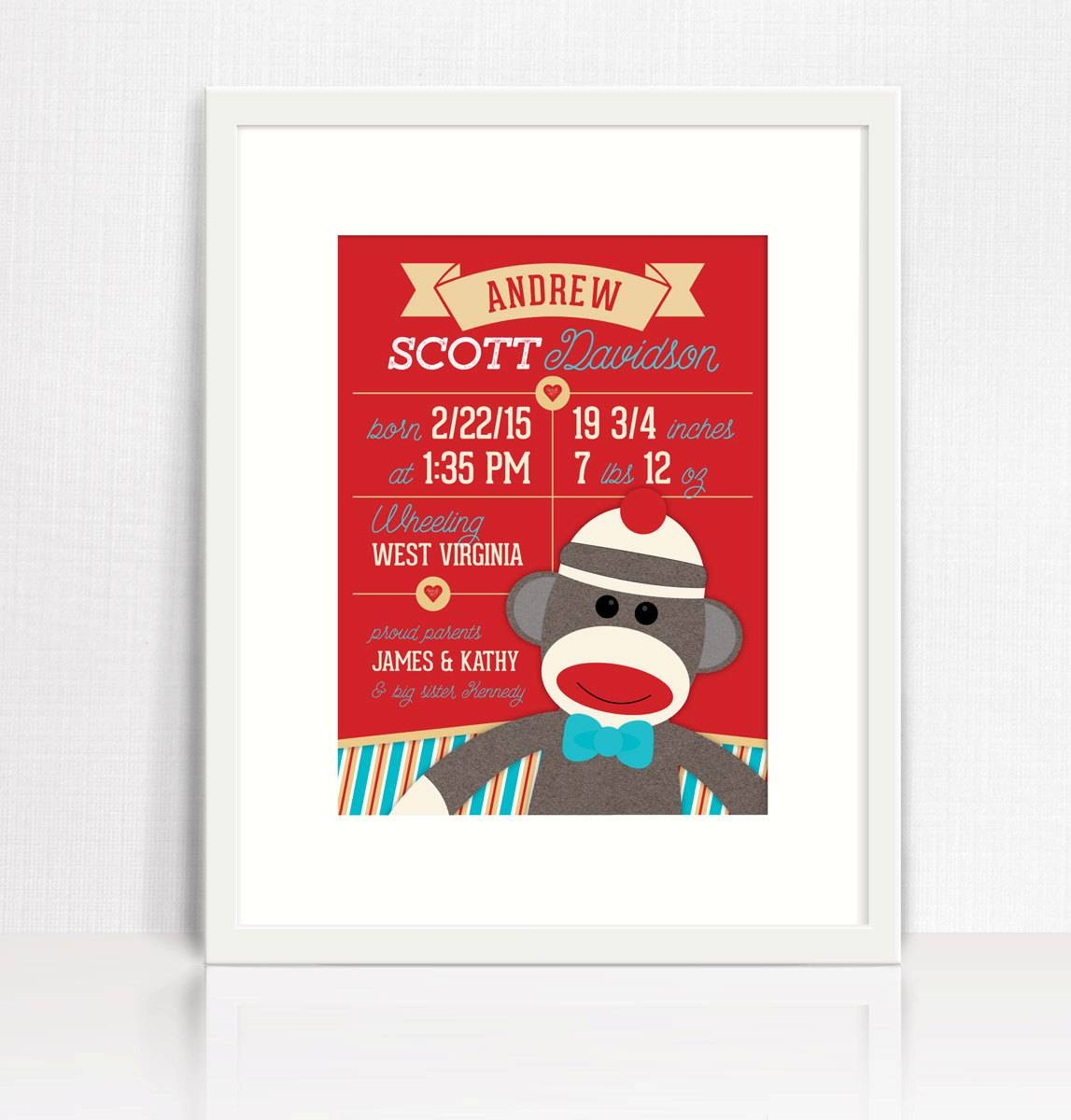 Sock Monkey Birth Print Sock Monkey Wall Art Sock Monkey Regarding Latest Sock Monkey Wall Art (View 21 of 30)