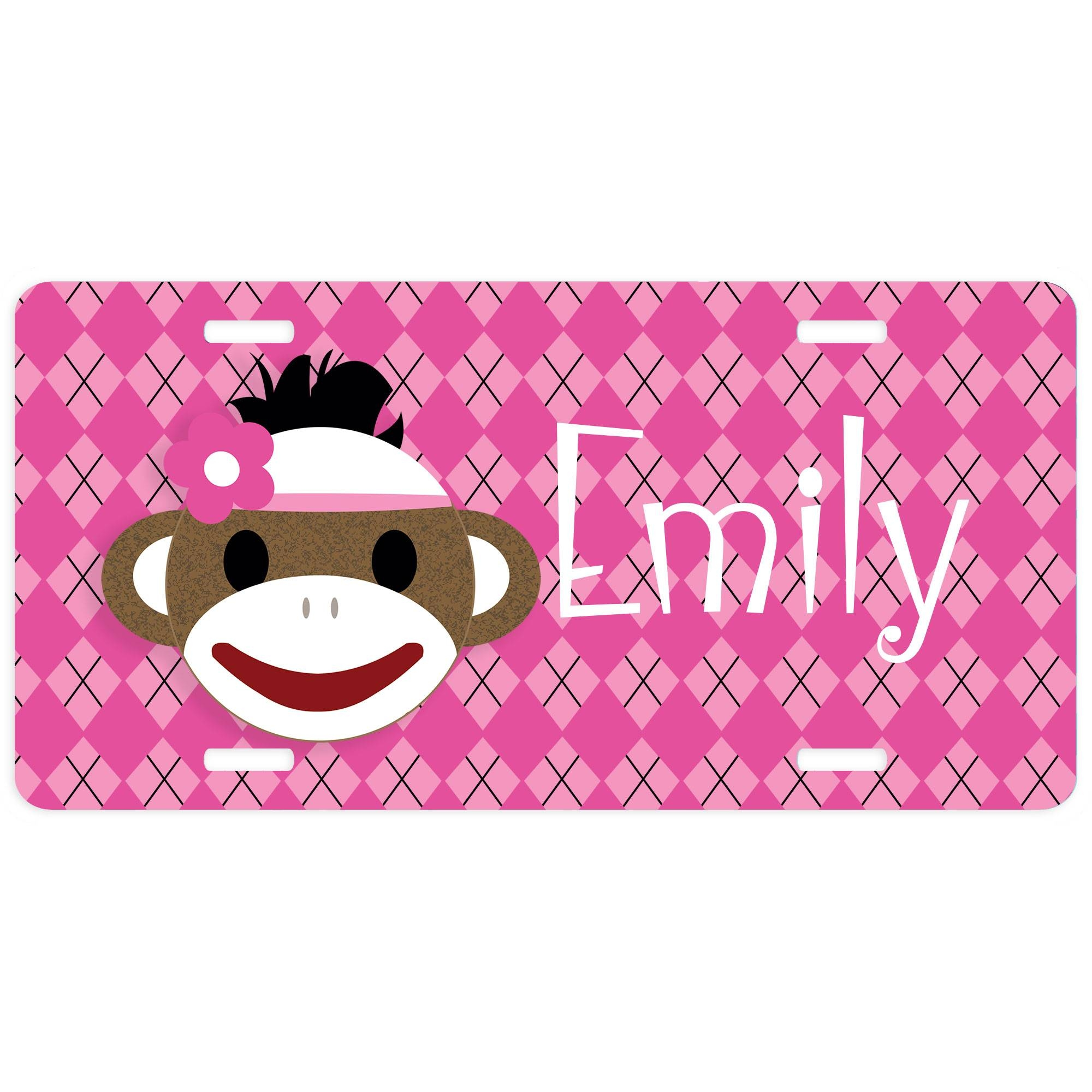 Sock Monkey Car Tag, Personalized Decorative Sock Monkey License Pertaining To Recent Sock Monkey Wall Art (View 22 of 30)