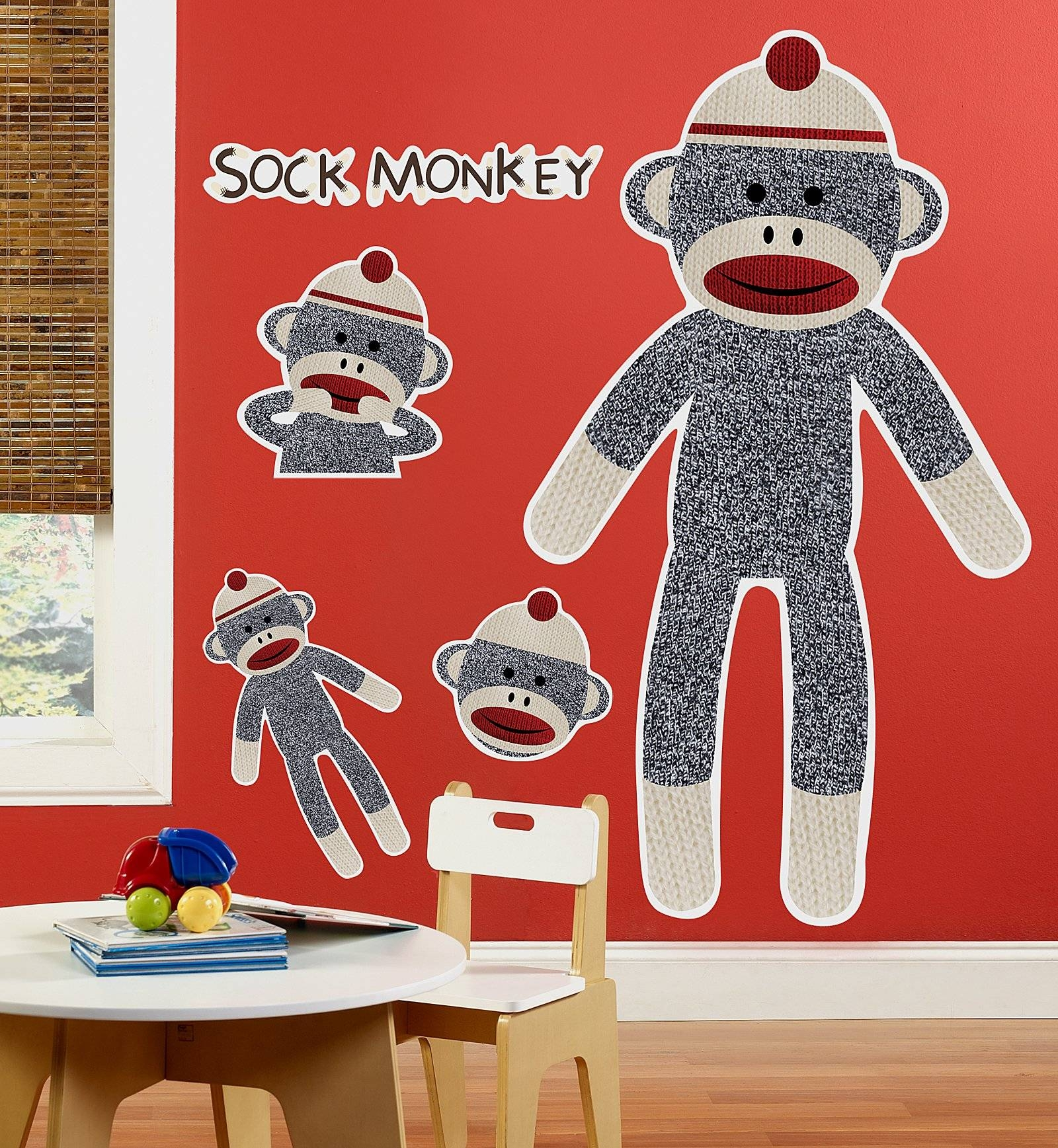 Sock Monkey Red – Personalized Vinyl Banner | Birthdayexpress Within Most Popular Sock Monkey Wall Art (View 24 of 30)