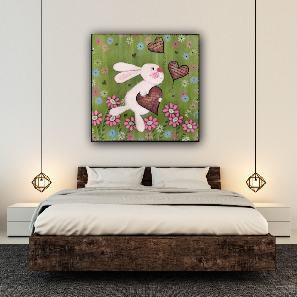 Some Bunny Loves You – Kids Art Canvas Panel Children's Decor Regarding Latest Childrens Wall Art Canvas (View 18 of 20)