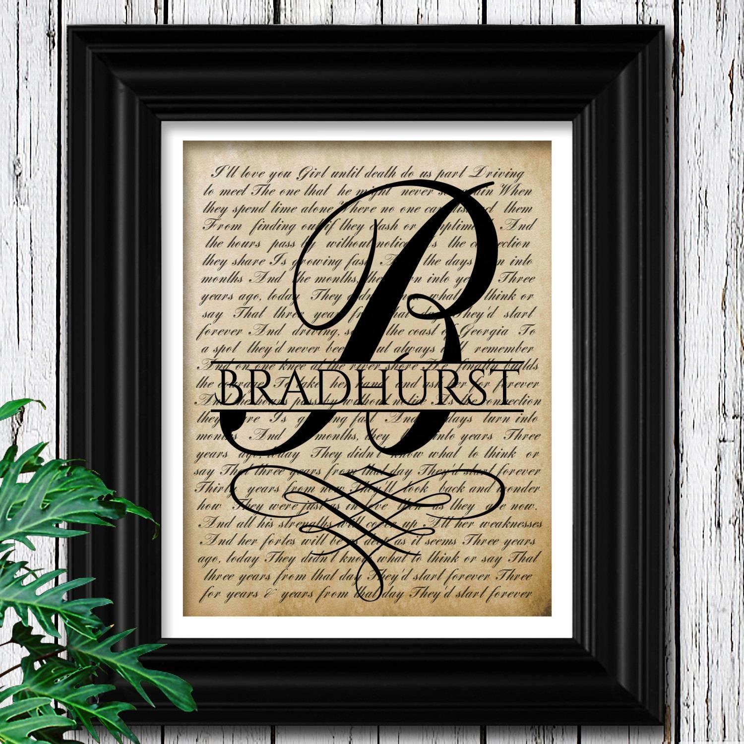 Song Lyric Wall Art Monogram Gift For Groom 1St Dance Within Latest Music Lyrics Wall Art (View 17 of 20)