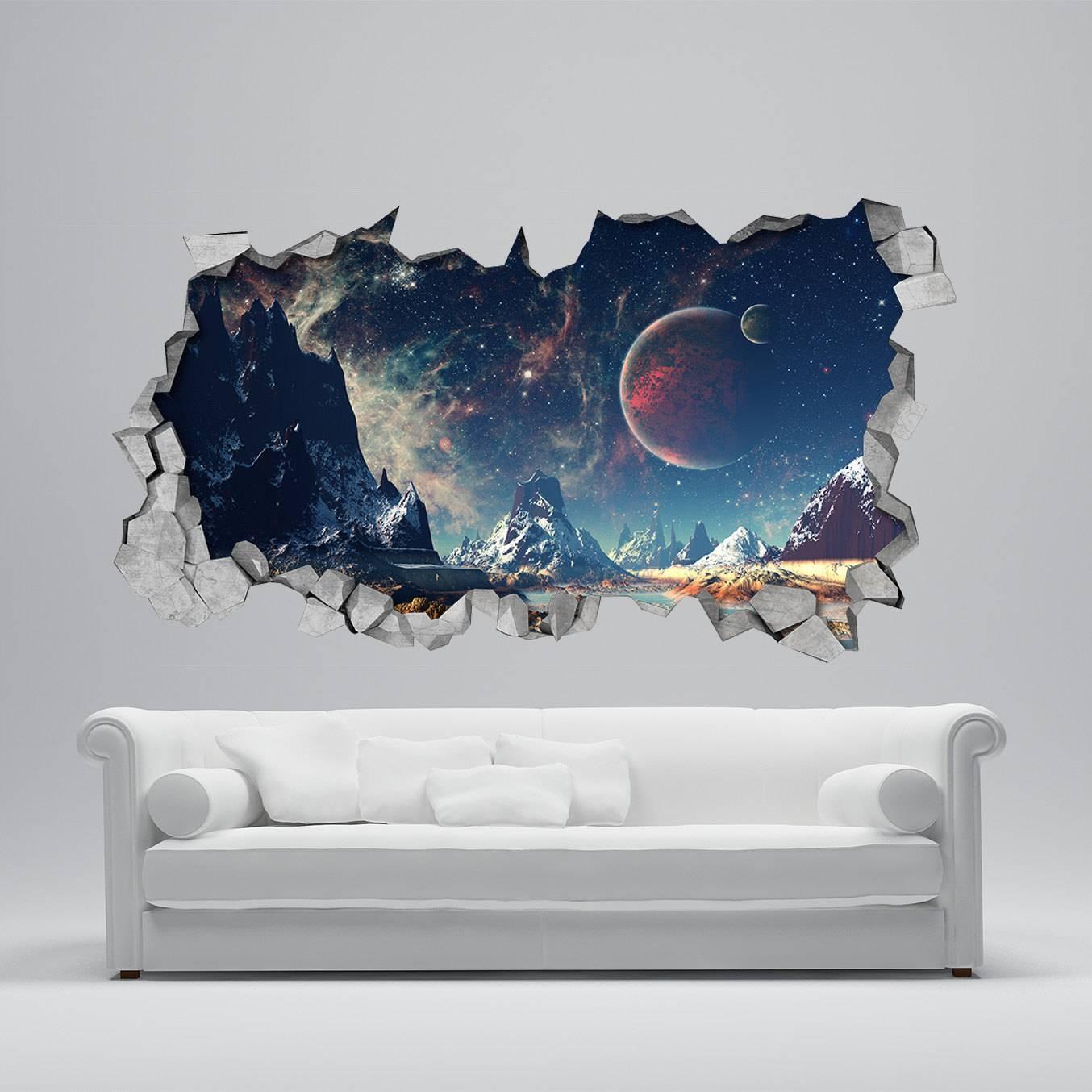 Space Broken Wall Decal 3D Wallpaper 3D Wall Decals 3D Pertaining To Latest Venezuela Wall Art 3D (View 17 of 20)
