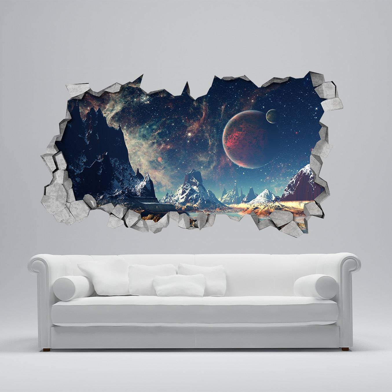 Space Broken Wall Decal 3D Wallpaper 3D Wall Decals 3D With Regard To Current 3D Wall Art (View 20 of 30)